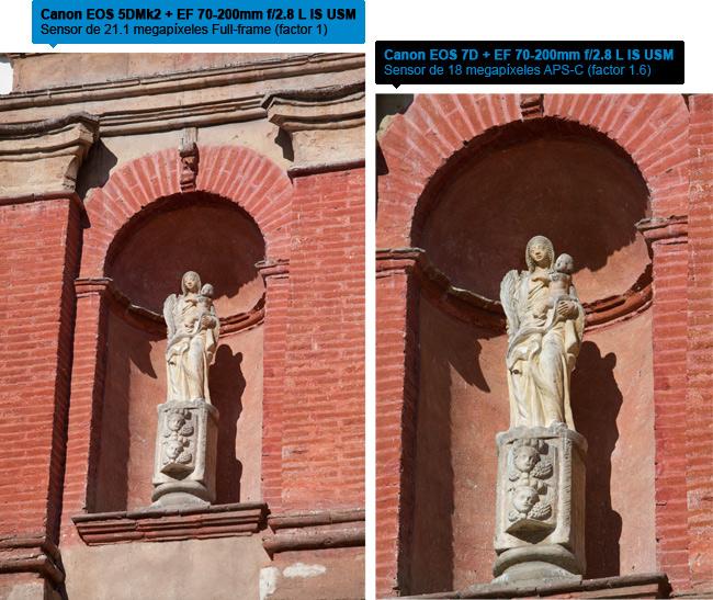 Canon EOS 5D Mark II vs Canon EOS 7D - Factor de ampliación